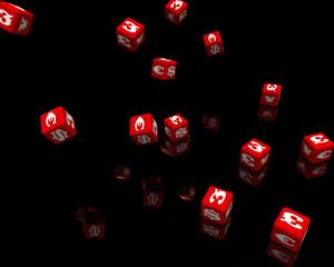 Кубики с символами валют падают на черную поверхность
