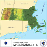 Massachusetts USA counties name location map background