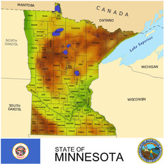 Minnesota USA counties name location map background