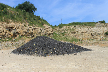Pile of coal in quarry