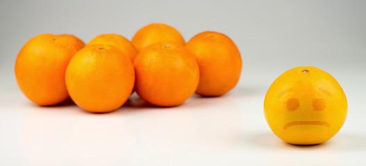 Sad segregated yellowish orange