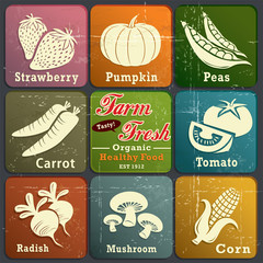Vintage farm fresh label poster with vegetables