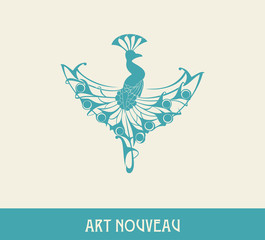 Peacock. Design element in art nouveau style