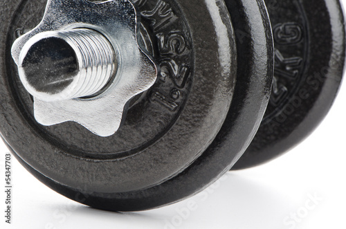 Dumbbell weight closeup