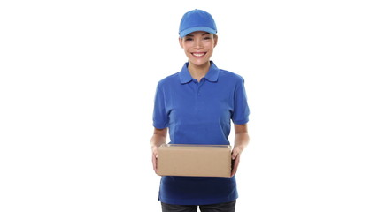 Woman package delivery courier person