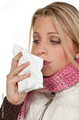 woman catched a cold