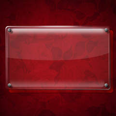Glass Plate on Red Roses Background