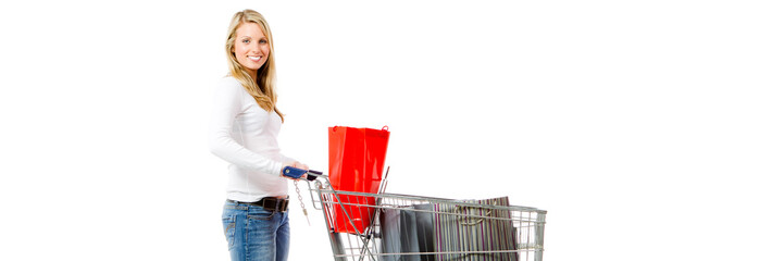 woman with a full shopping cart