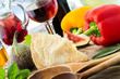Italian food - Pecorino and wine