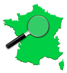 carte de france verte. Focus loupe