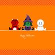 Halloween Devil, Witch & Mummy Orange Dots