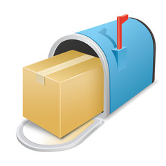 Beautiful blue metallic opened mailbox. Vector icon. Package.