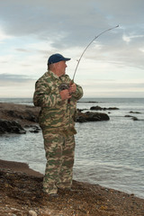 Mullet catching at coast of Primorski Territory of Russia
