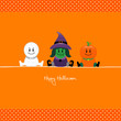 Halloween Mummy, Witch & Pumpkin Orange Dots