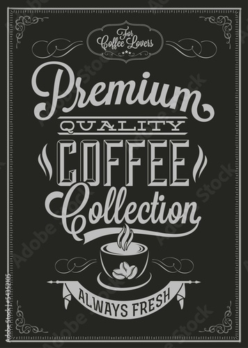 Poster, Tablou Coffee Typography Background On Chalkboard