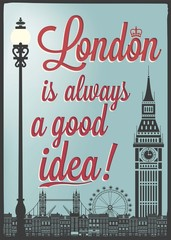 Typographical Retro Poster With London Landmarks
