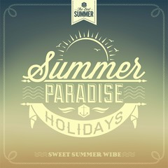 Summer Paradise Typography Background For Summer