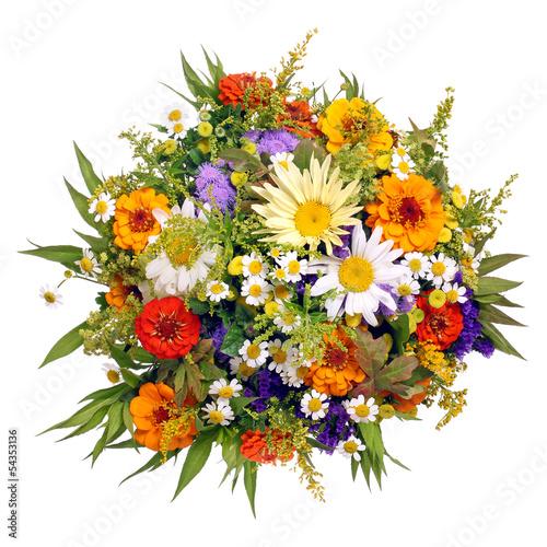 Leinwanddruck Bild Bunter Blumenstrauß aus dem Bauerngarten
