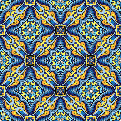 Abstract seamless pattern, blue fabric ornament