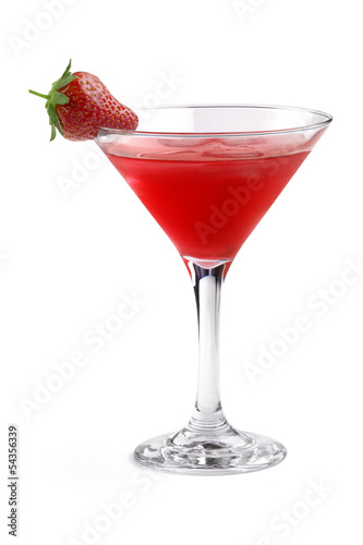 red cocktail with strawberry