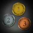 Münze 1 2 3  Pokal Gitter