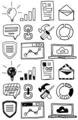 Hand drawn seo doodles / icon set