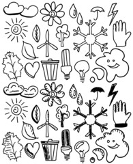 Set of black isolated environmental hand drawn doodles