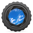 canvas print picture camera shutter with cloudy sky