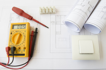 plans and electrical tools