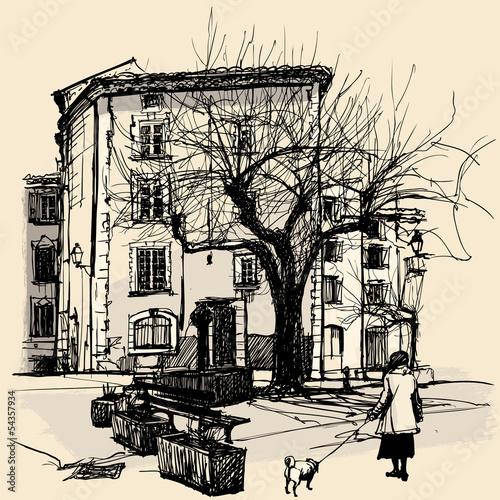 Entrevaux - vector illustration - 54357934