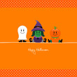 Halloween Ghost, Witch & Pumpkin Orange Dots