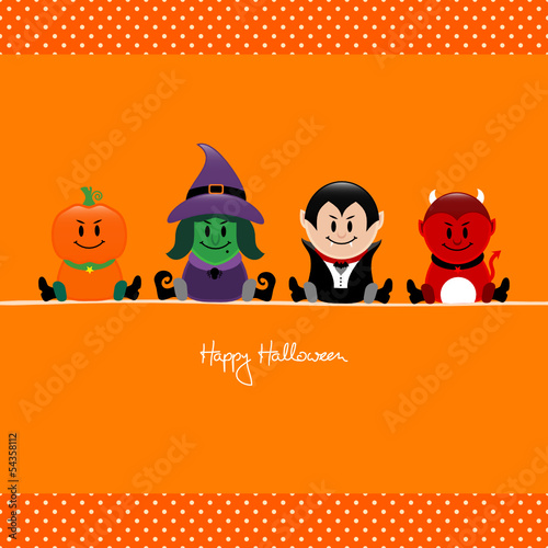 Halloween Pumpkin, Witch, Vampire & Devil Orange Dots