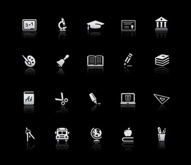 School and Education Icons -- Silver Series