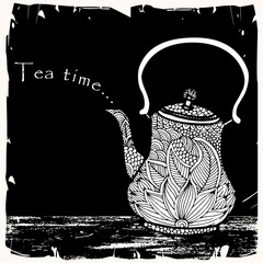 Tea time- Tea pot with floral decoration