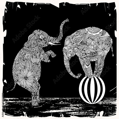 Elephants with floral decoration