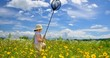 夏空と花と少女