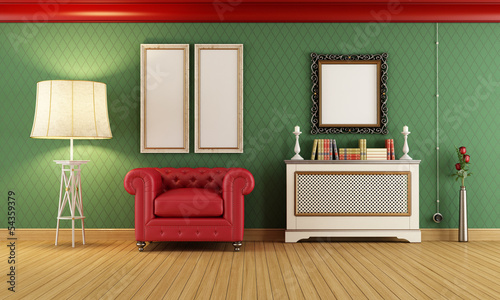 Vintage room with red classic armchair