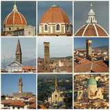 florentine roofs collage, Florence poster