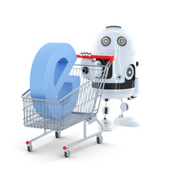 Android Robot with shopping cart. E-commerce concept