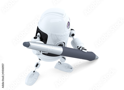 Cute android robot with pen