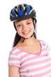 Mixed Race Teenage Girl Wearing a Bicycle Helmet.