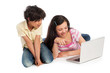 Two Kids Looking at a Laptop Computer