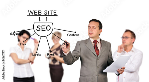 man drawing seo scheme