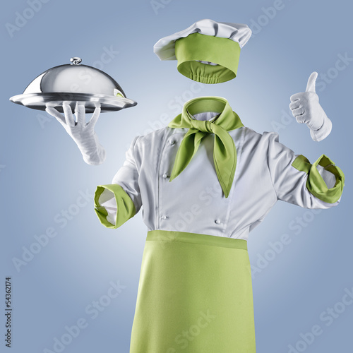 invisible chef with restaurant cloche or tray on a blue backgrou