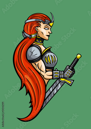 Stylized emblem woman warrior with sword