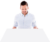 Man holding a mockup poster