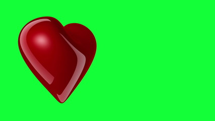 Red heart rotating on greenscreen background