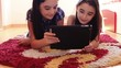 Happy teenage girls having fun using tablet computer