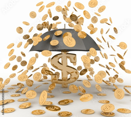 umbrella in the rain of coins. 3d illustration on white