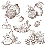 Fototapety Icons of sweet fruits and berries